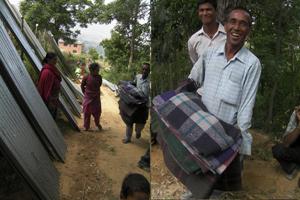 BhaktapurのTathaliにてトタンと毛布の配布のサムネイル画像